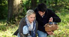 В лесу парень и девушка вместе собирают грибы